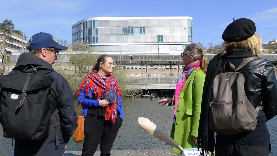 "Åsa Andersson during her performative walk ""Healing Promenade"" (2021)"